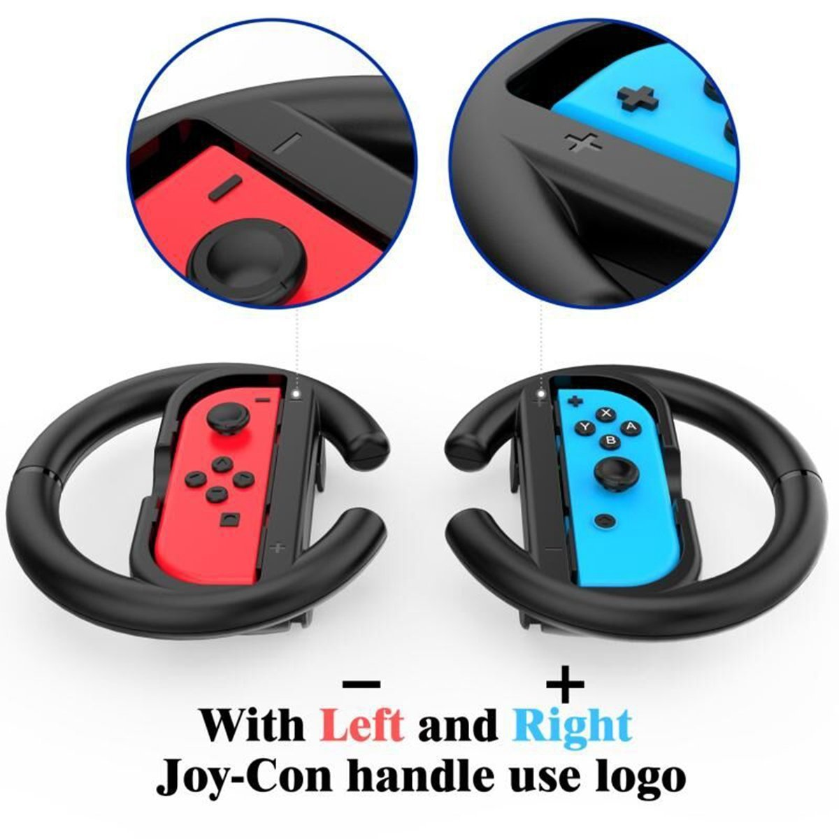Steering Wheel Grips for Nintendo Switch Console Racing Wheel Joy-con Grips Handle Set by Lammcou for Nintendo Switch Controller Games-Black