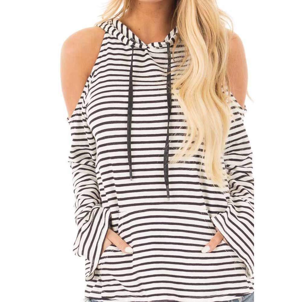 Spbamboo Womens Sweatshirt Clearance Long Sleeve Striped Off Shoulder Top Blouse