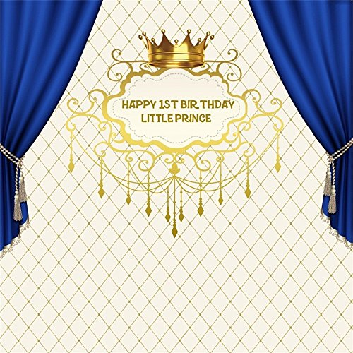 LFEEY 8x8ft Little Prince Happy 1st Birthday Backdrop Boy Gold Crown Blue Curtain First Birth Party Photography Background Customizable Baby Shower Decor Video Drapes Photo Studio Props ()