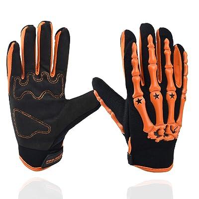 Chitone Full Finger Skeleton Motocross Riding Gloves for Motorcycle (Large, orange): Automotive