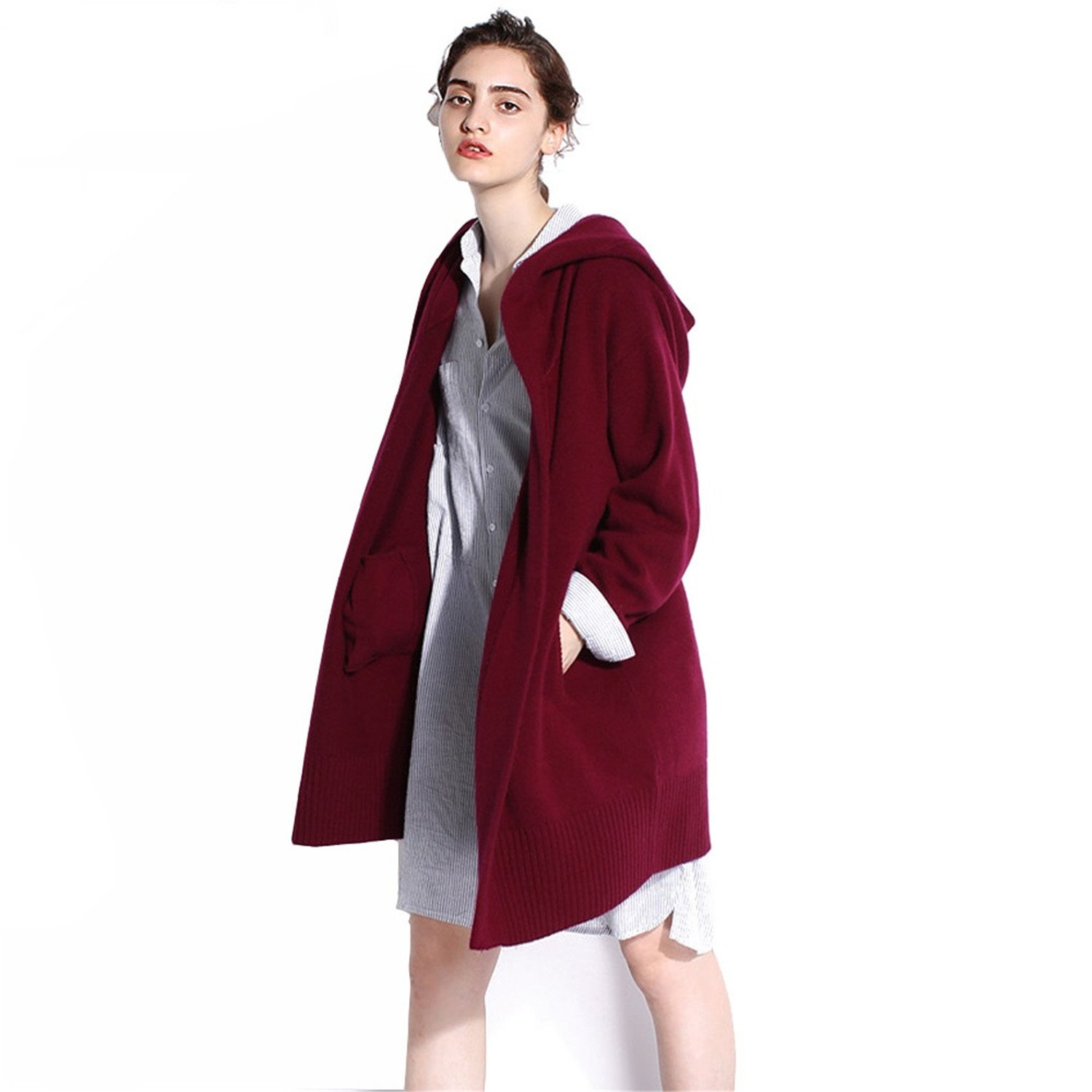 Gome-z Chic Spring Autumn 100% Pure Cashmere Open Stitch Hooded Cardigans Fluffy Sweater Outwear Clothing Burgundy L