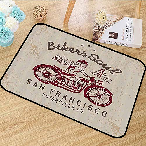 Retro Area Floor Rugs Bikers Soul San Francisco Emblem with Skull Wings Riding Motorcycle Dead Illustration Dining Room Home Bedroom W59 x L82 Beige Ruby