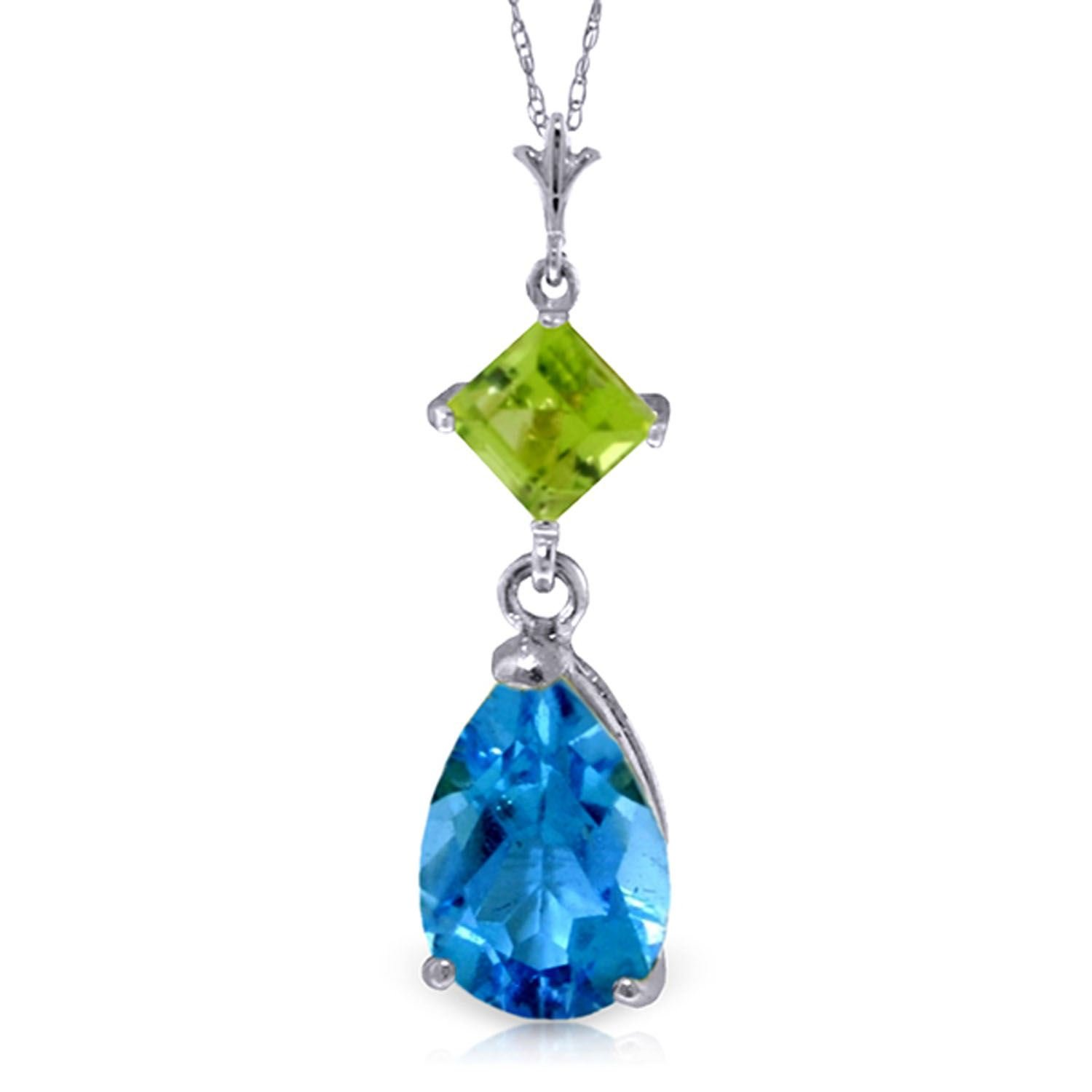 ALARRI 2 CTW 14K Solid White Gold Roll In The Grass Blue Topaz Peridot Necklace with 24 Inch Chain Length