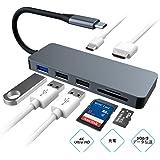 USB C ハブ Type C ドッキングステーション USB Type-c Hub HDMI出力 PD給電 USB3.0 ハブ SDカードリーダー Micro SDカードリーダ マイクロ SD カード リーダー 7in1 タイプC 変換 アダプタ MacBook2016 MacBook Pro/ChromeBook対応