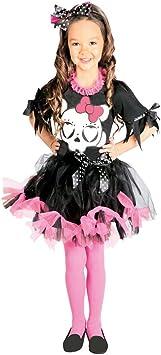 NET TOYS Atuendo Infantil Halloween Disfraz Calavera Rosa-Negro L ...