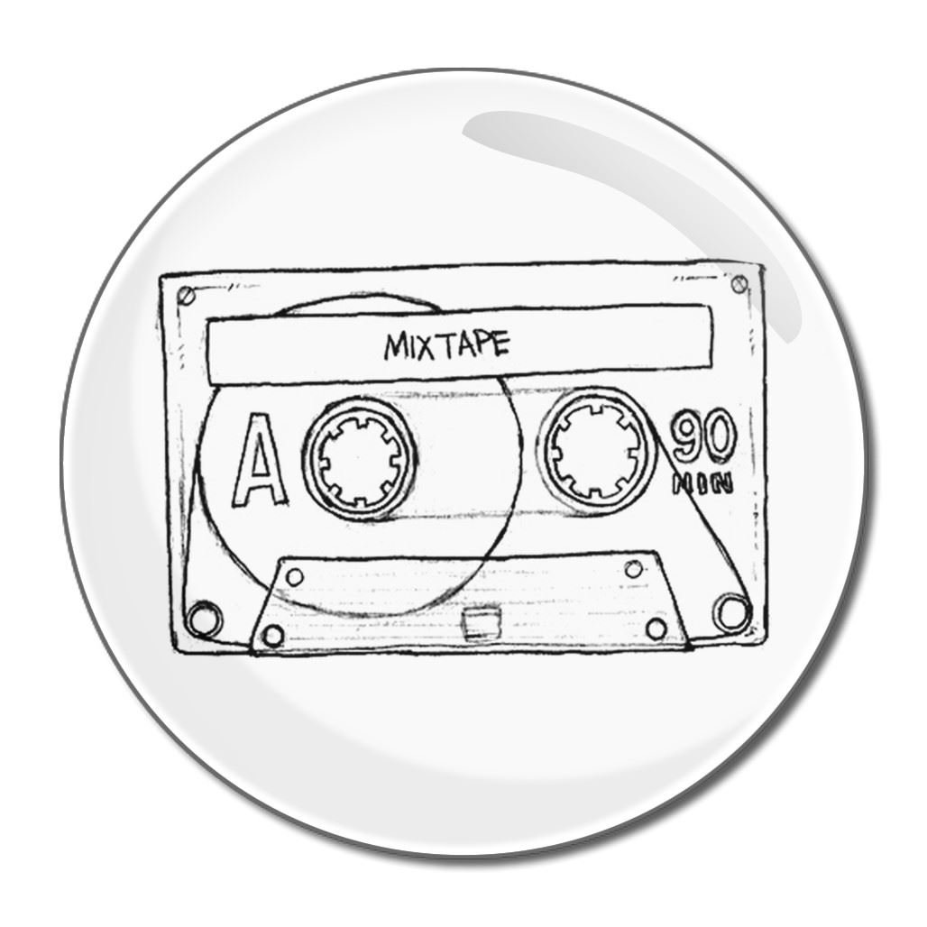 Cassette Tape - 55mm Round Compact Mirror BadgeBeast.co.uk 55mir-casette