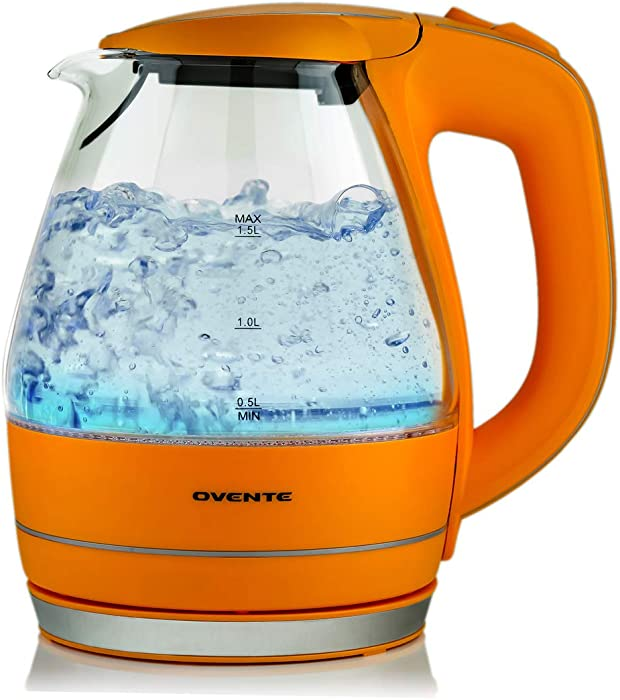 Ovente Electric Glass Kettle 1.5 Liter with Heat Tempered Borosilicate Glass, BPA-Free, 1100 Watts Fast Heating Element with Auto Shutoff and Boil Dry Protection, Orange (KG83O)