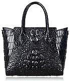 Pijushi Embossed Crocodile Handbags Designer Purses Top Handle Shoulder Bag (6082 Black)