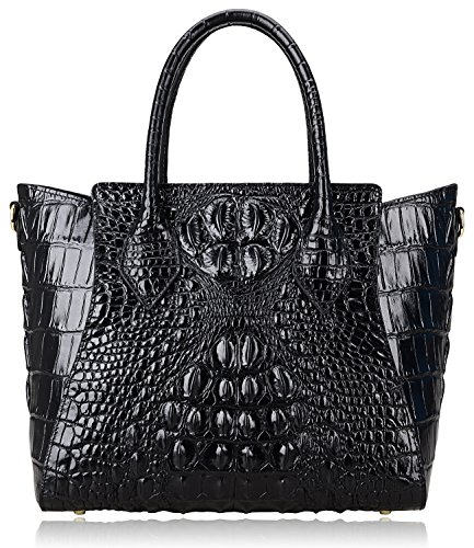 Embossed Leather Shoulder Bag - PIJUSHI Embossed Crocodile Handbags for Ladies Designer Purses Top Handle Shoulder Bag (6082 Black)