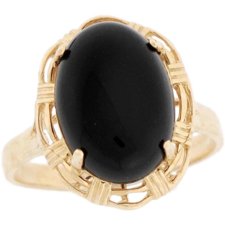 10k Solid Gold 14x10mm Oval Onyx Unique Design Elegant Ladies Ring