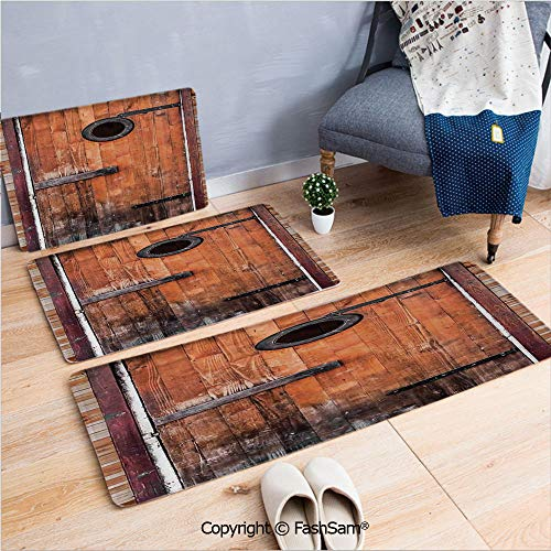 FashSam 3 Piece Non Slip Flannel Door Mat Photograph of Antique Knotted Pine Wood with Control Window Lumber Nature Design Indoor Carpet for Bath Kitchen(W15.7xL23.6 by W19.6xL31.5 by W31.4xL47.2) ()