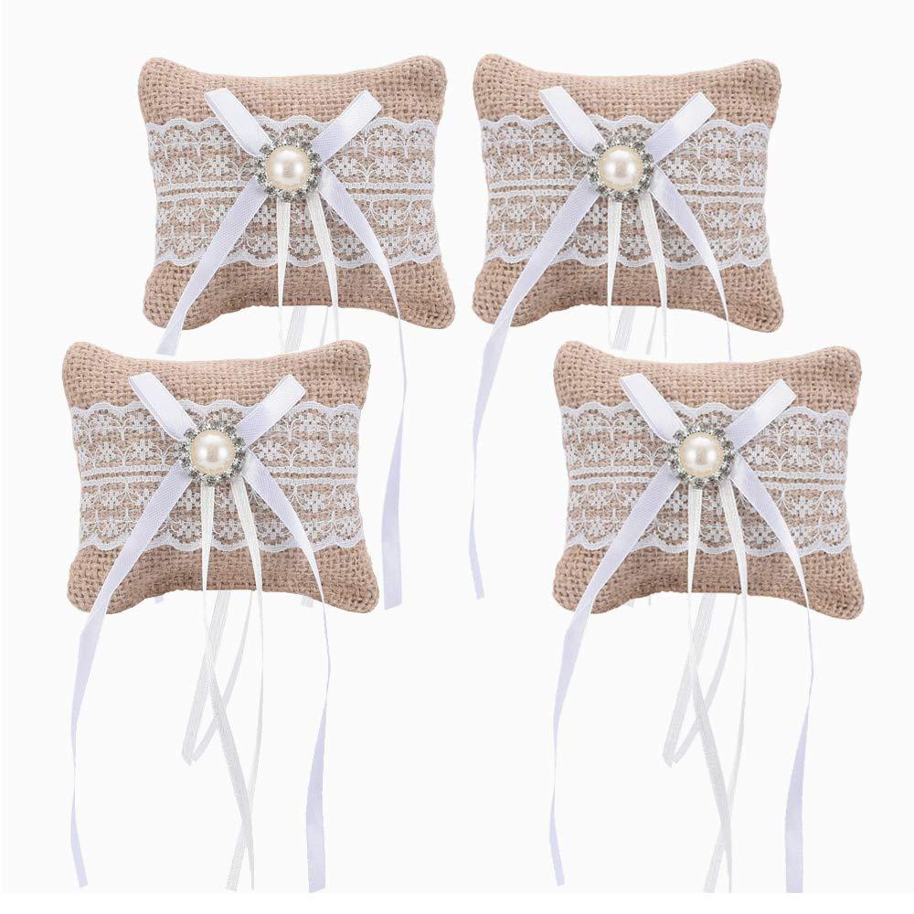 LONGBLE 4pcs Lace Ribbon Burlap Mini Ring Pillow Jute Pocket Size Pillows Cushions Wedding Mariage Party DIY Decoration Garden Home dresser Ornaments by LONGBLE