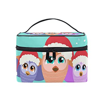 ea116ba0586a Amazon.com   Makeup Bags Organizer Christmas Owl Music Large Travel Cosmetic  Beauty Storage Toiletry Pouch for Women   Beauty