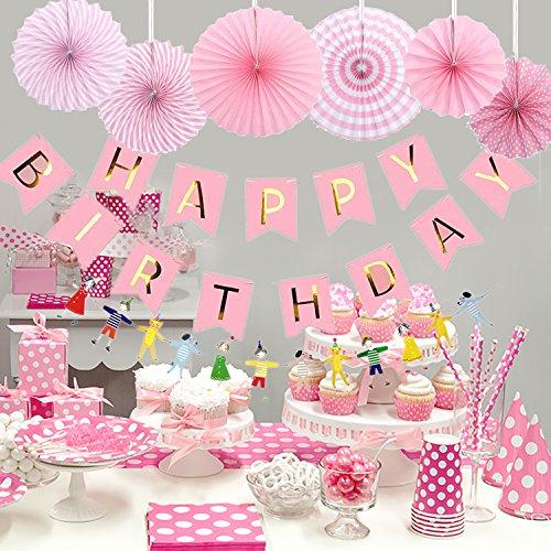 AYUQI Hanging Birthday Party Decoration Kit Colorful Paper Fans Hanging Party Decoration Set Home Decoration Set of BirthdayParty Supplies Favors(Pink) by AYUQI (Image #1)