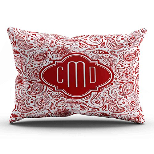 Boitty Pillow Case Monogramed Elegant Maroon Red and White Paisley Pillowcases Personalized Decorative Unique Throw Pillow Covers Cases Lumbar 12x24 Inches One Side -