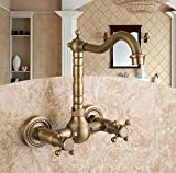 AWXJX European Style Retro and Copper Hot and Cold Wall Mounted Washing The Face Double Twin Rotate Sink Mixer Taps