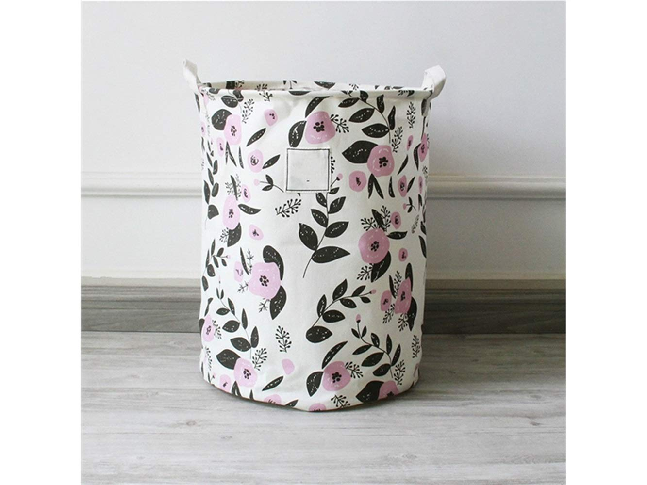 Storage Box Printing Pattern Storage Bucket Cotton Bucket Sundries Storage Bucket(White+Purple)