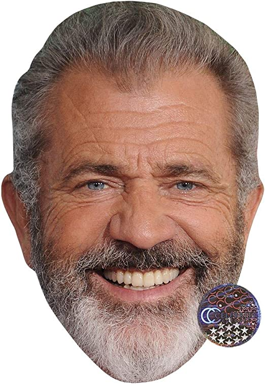 Flat Card Face Young Mel Gibson Celebrity Mask