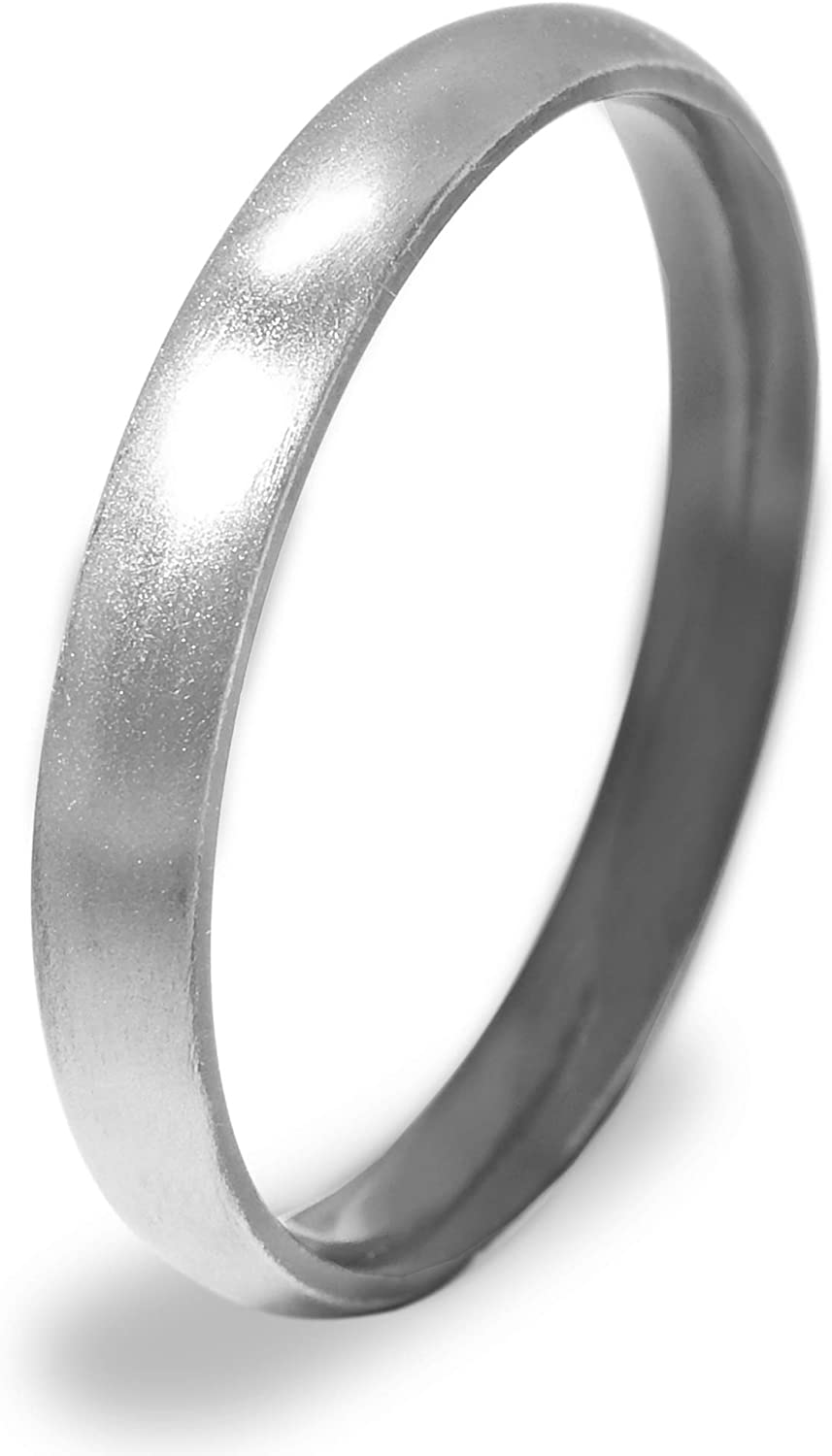 Everstone Women Titanium Ring Dome Polished Anniversary Wedding Ring Blue 4mm Size 3.5-16.5