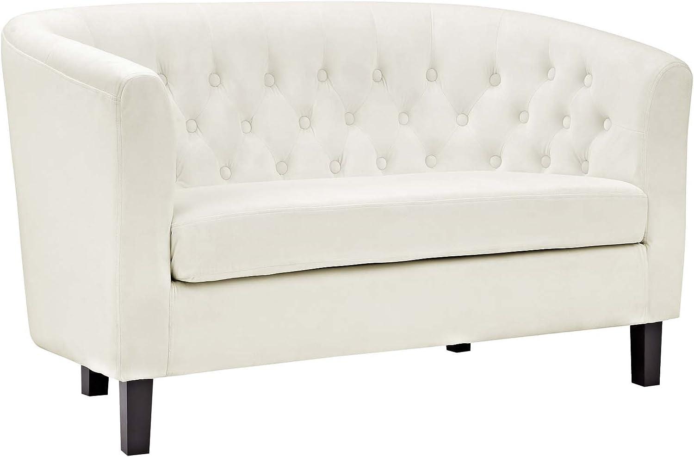 Modway Prospect Velvet Upholstered Contemporary Modern Loveseat In Ivory