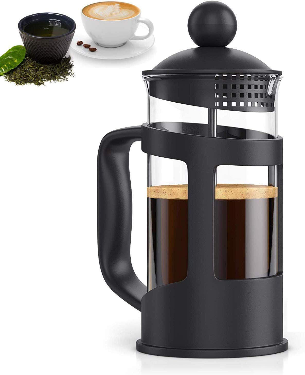 RAINBEAN French Press Coffee Maker, Quality Large Tea Maker, Perfect for Morning Coffee, Maximum Flavor Coffee Brewer with Stainless Steel Filter, 34 oz/1000 ML-Black