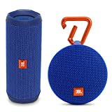JBL Flip 4 Portable Waterproof Bluetooth Speaker and Clip 2 Waterproof Portable Bluetooth Speaker (Blue)