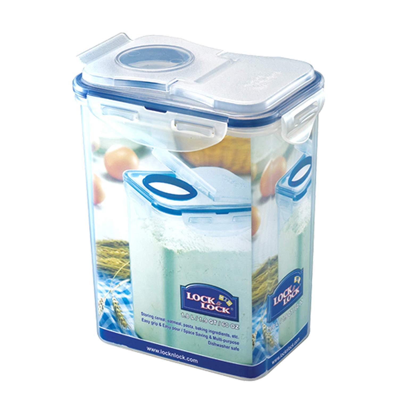 2 x Tall Food Storage Container Clip Lock Airtight Kitchen Rectangular 1.3 Litre