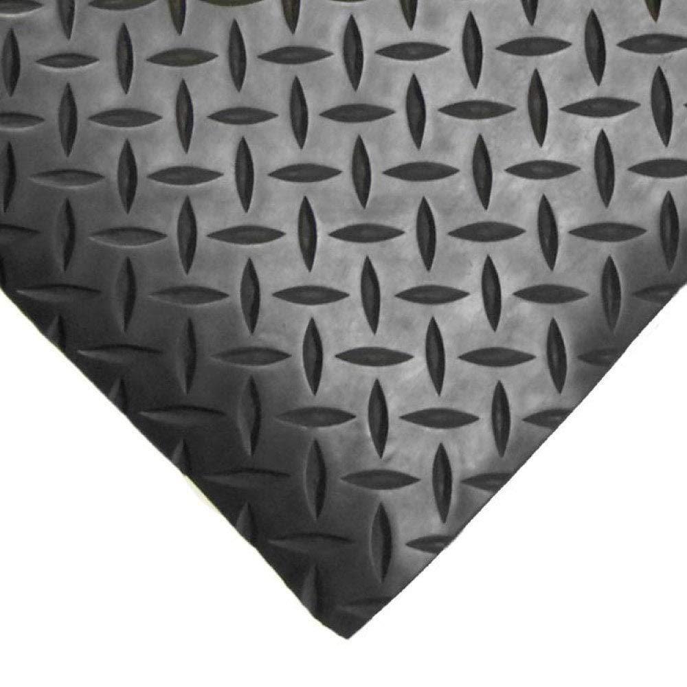 6m x 1.5m x 3mm Diamante Plato esterating Antideslizante Negro Caucho Piso