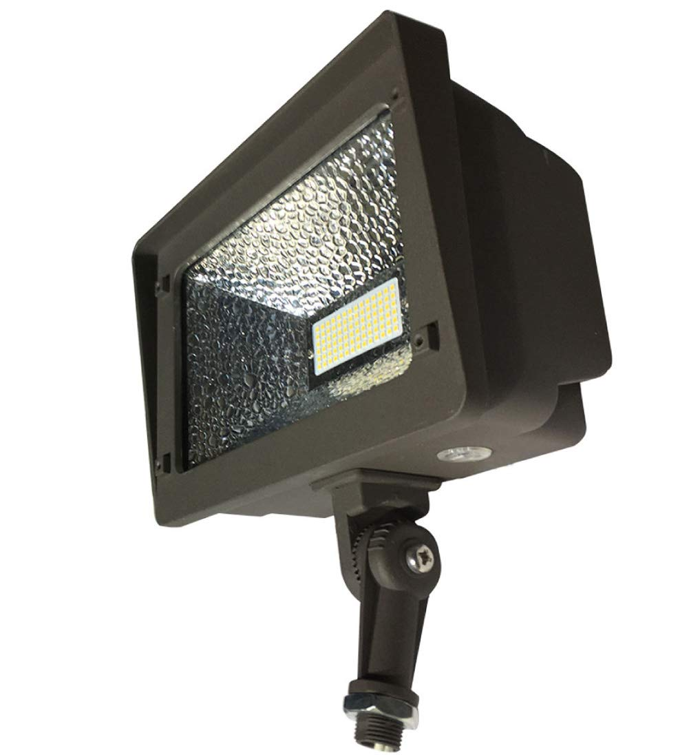 LED Flood Light, Dusk-to-Dawn Photocell, 180° Adjustable Knuckle, 50W (250W Equivalent), Waterproof Outdoor Area Lighting, 5000K 5500lm 100-277Vac ETL Qualified DLC Listed 10-Year Warranty by Kadision