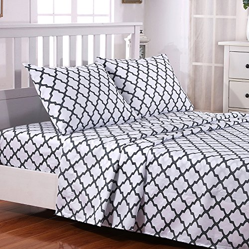 Egyptian Luxury Quatrefoil Pattern Bed Queen Sheets Set 1800 Bedding - Wrinkle, Fade, Stain Resistant - Hypoallergenic - 4 Piece Sheets (Queen, White/Grey)