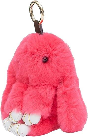 I LOVE DIY Mignon Rex Lapin Pompon Fourrure Pendentif pour Porte Cles Sac a Main 14cm, Rouge