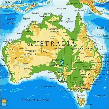Poster 50 X 50 Cm Australien Topographische Karte Englisch