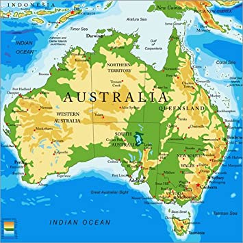 australien karte Poster 50 x 50 cm: Australien   Topographische Karte von Editors