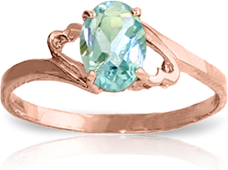 14k Rose Gold Natural Aquamarine Ring