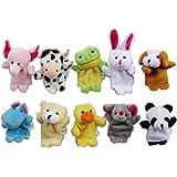 Carejoy Cute 10pcs Velvet Animal Style Finger Puppets Set