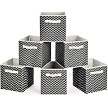 Collapsible Storage Bins, MaidMAX Set of 6 Foldable Fabric Storage Cubes Containers Organizers Basket with Dual Handles for Home, Office & Nursery, Dark Gray Chevron