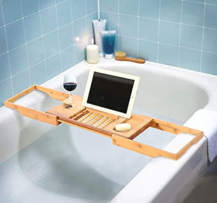 Bamboo Bathtub Rack Shelf Caddy Tray Wine Holder Book Stand ...
