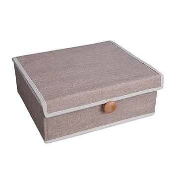 Ropa Interior Sujetador Organizador Del Cajón Multifunción Material De Algodón Calcetín Bragas Caja De Almacenamiento Plegable,Brown: Amazon.es: Hogar