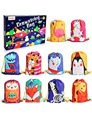 BeebeeRun 10PCS Party Favours Bags for Kids Girls Boys,Party Bags Drawstring Backpacks,Birthday Party Candy Bags Goodie Bags