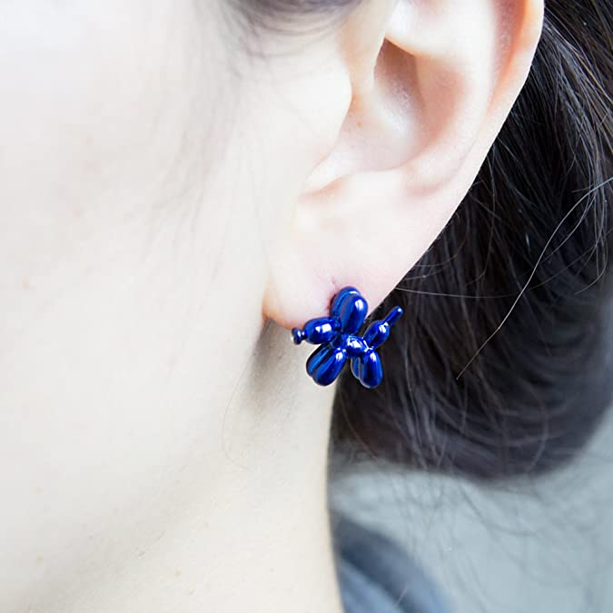 Balloon Dog Earrings Rhinestone Nose Harajuku Earrings Free Shipping For Purchasing 2 or More Items Clip On Earrings pet Love