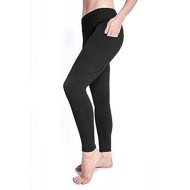 d4ce59988cd2f4 Raypose High Waist Out Pocket Yoga Pants Non See-Through Yoga Leggings(Black  S