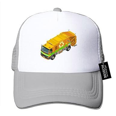 7cfd049ed3f BESEON Garbage Truck Yellow Car Truck Mesh Adjustable Snapback Hat Trucker  Cap