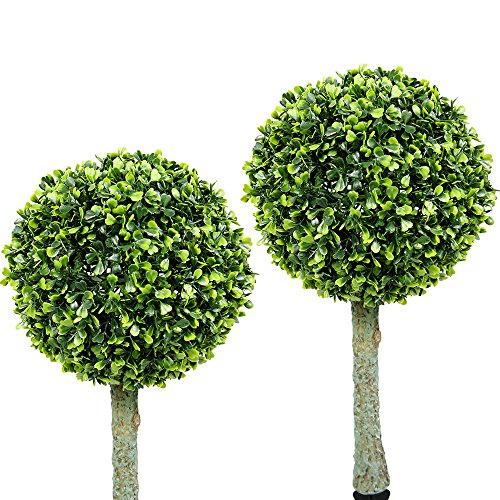 iGlow 2 Pack Outdoor Garden 30 Bright White LED Solar Topiary Tree Bush Landscape Path Light Lamp Yard Patio Decoration (Outdoor Topiary Trees With Lights)