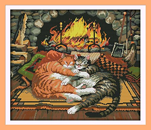 Joy Sunday Cross Stitch kits, Sleeping cat,14CT Counted, 49c
