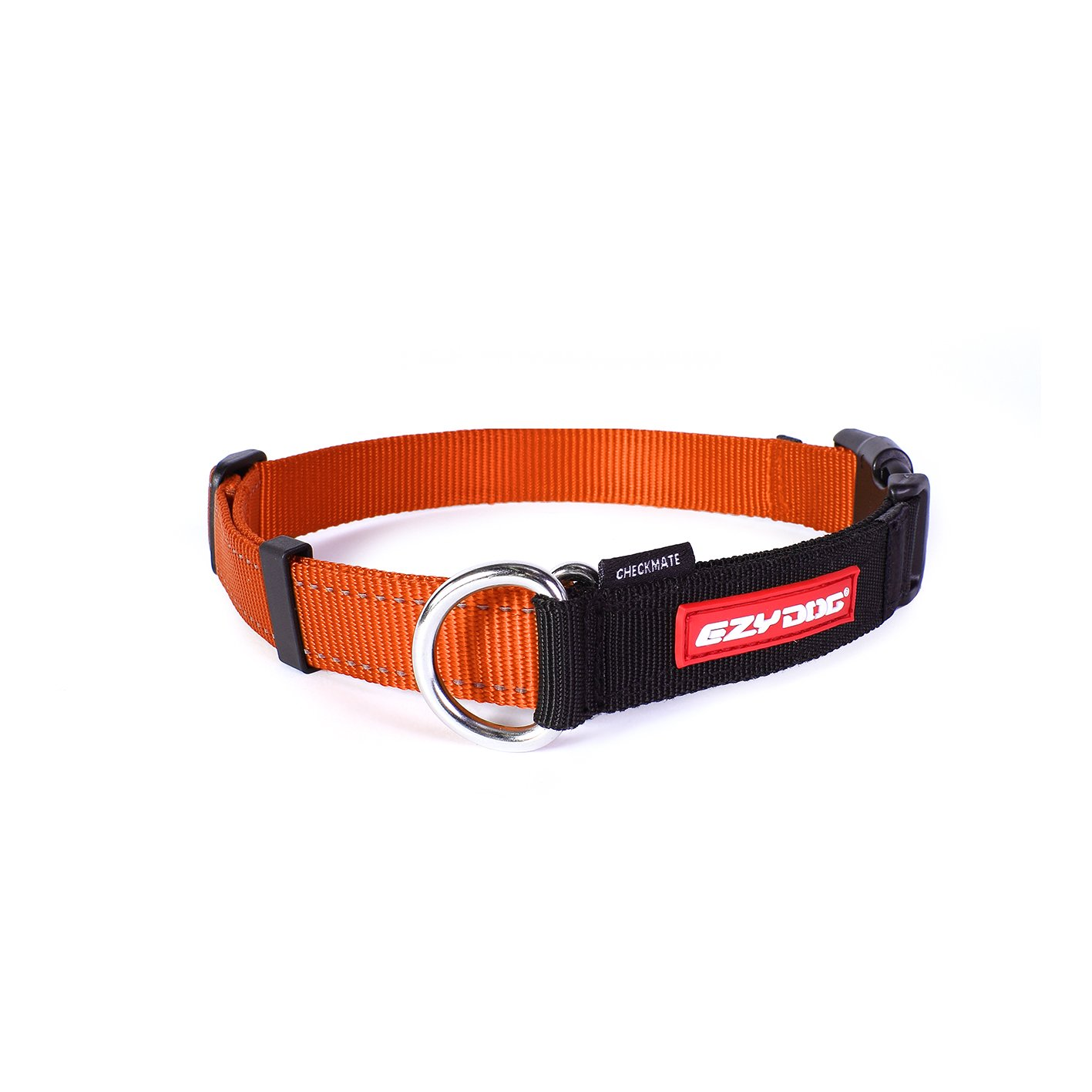 EzyDog Checkmate Martingale-Style Premium Nylon Safety Training and Correction Dog Collar - Quick-Clip Buckle and Reflective Stitching - Easy Control with no Choking Effect (Medium, Orange)