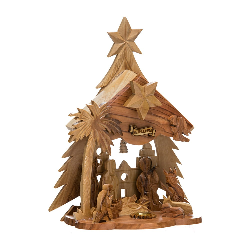 Kurt Adler LOC0002 6.9'' Olive Wood Nativity Music Box