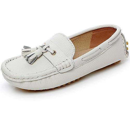 Shenn - Mocasines de cuero para niño blanco blanco: Amazon.es: Zapatos y complementos