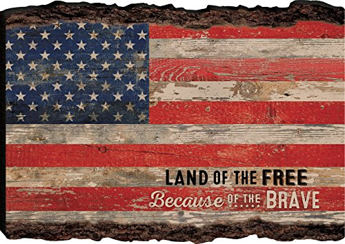 P. Graham Dunn Patriotic American Flag Land of The Free Distressed 4 x 6 Wood Bark Edge Design Sign
