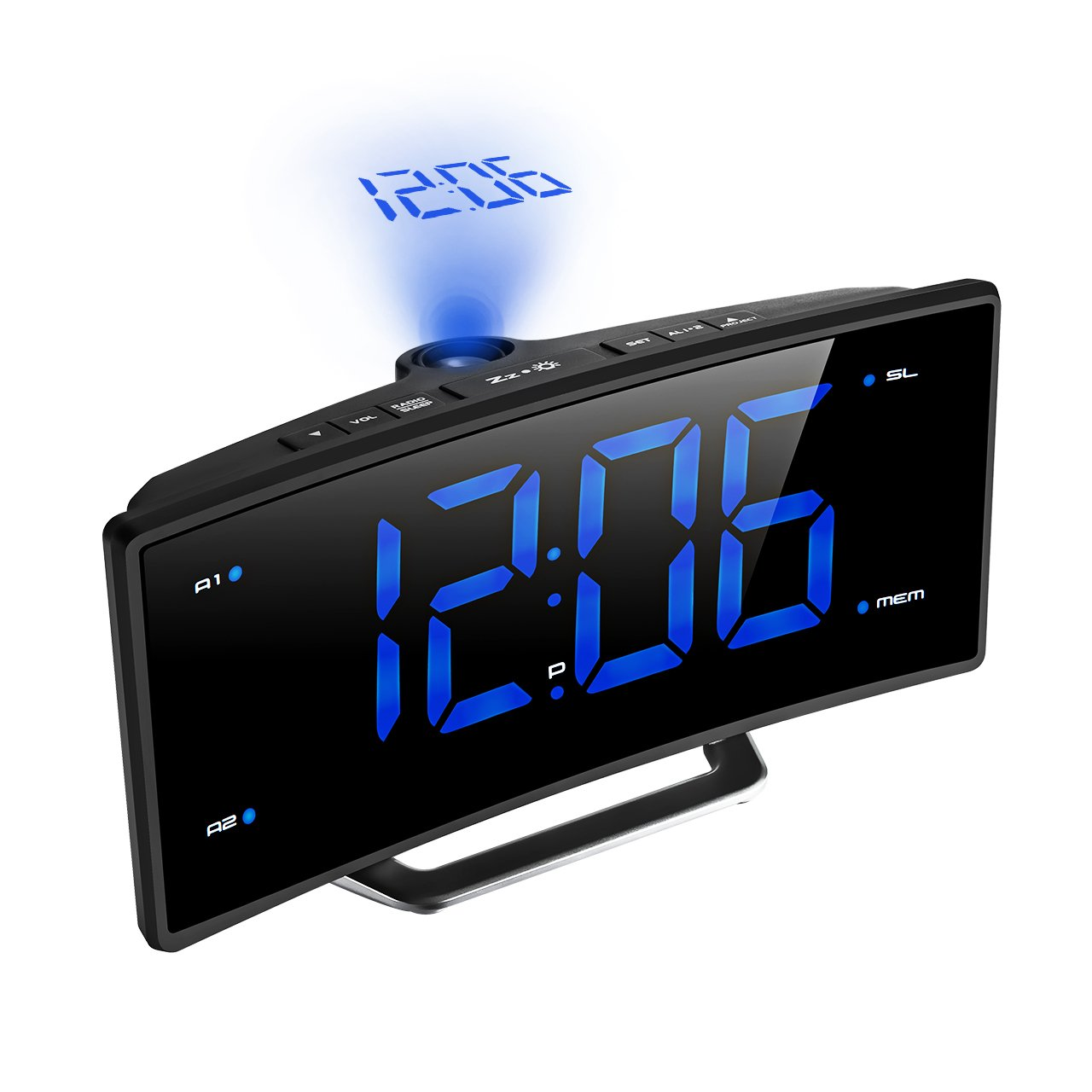 Digital Projection Clock, TopElek FM Radio Alarm Clock with USB Charging Port, Dual Alarms, Snooze Function, 2-inch Large LED Display with Dimmer, Sleep Timer