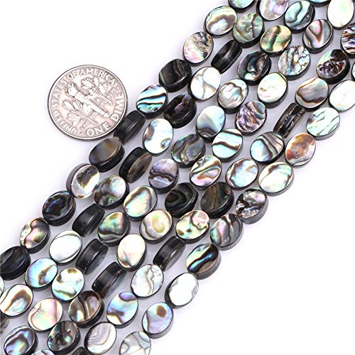 (6X8mm Oval Natural Abalone Shell Beads Strand 15